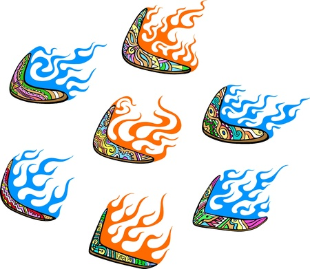 boomerangs: Native Australian Boomerangs with Flames. Set of color vector illustrations.