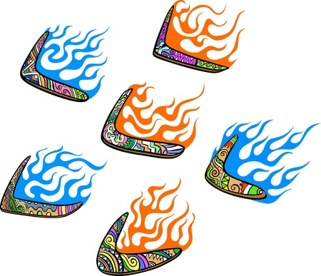 Native Australian Boomerangs with Flames. Set of color vector illustrations. Stock Vector - 14953073