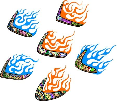 boomerangs: Native Australian Boomerangs with Flames. Set of color vector illustrations.