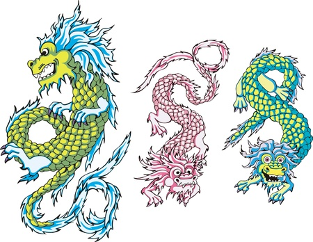 Funny chinese dragons. Set of color vector illustrations. Vector