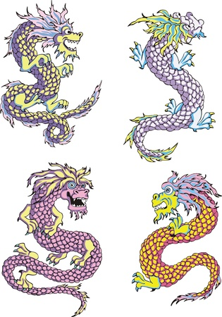 Funny chinese dragons. Set of color vector illustrations. Stock Vector - 14953020