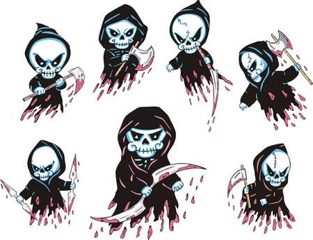 Bloody Death Characters. Set of color vector illustrations. Vector