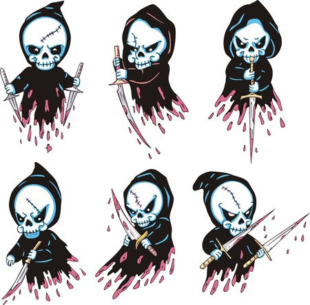 nightmarish: Death with blades. Set of color vector illustrations. Illustration