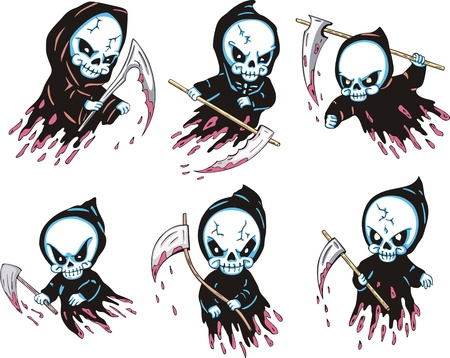 nightmarish: Death with scythe. Set of color vector illustrations.