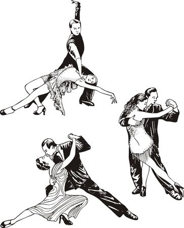 classical dancer: Dancing couples. Set of black and white vector illustrations.