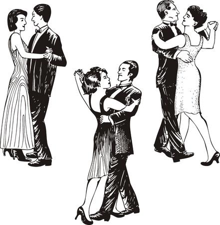 踊るカップル。黒と白のベクトル イラストのセットです。  イラスト・ベクター素材