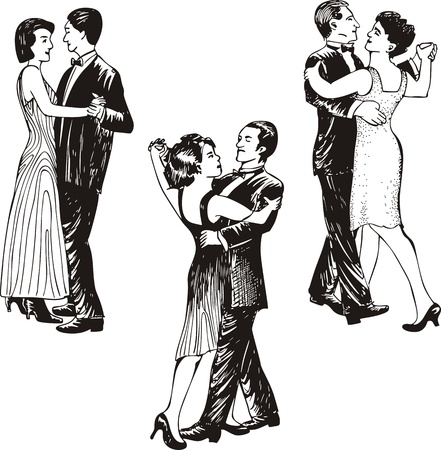 Dancing couples. Set of black and white vector illustrations.