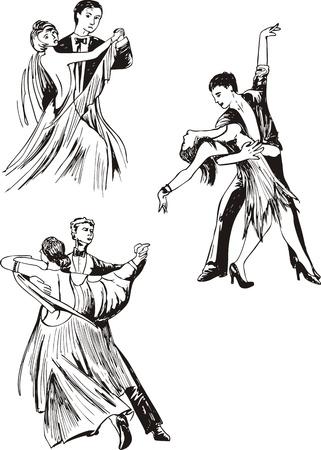 Couples de danseurs. Set d'illustrations vectorielles en noir et blanc. Vecteurs