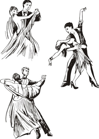 Dancing couples. Set of black and white vector illustrations. Vector