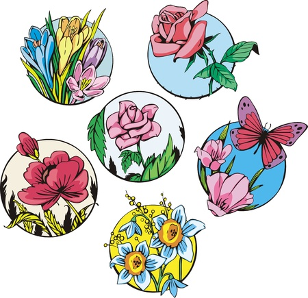 Round flower designs. Set of color vector illustrations. Stock Vector - 14952928