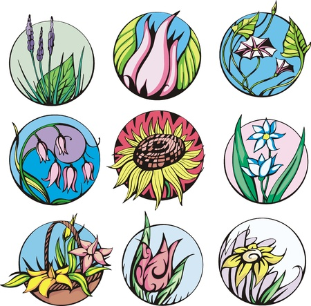 Round flower designs. Set of color vector illustrations. Stock Vector - 14952927