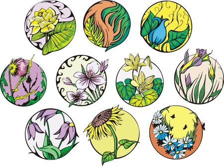 Round flower designs. Set of color vector illustrations. Stock Vector - 14952912