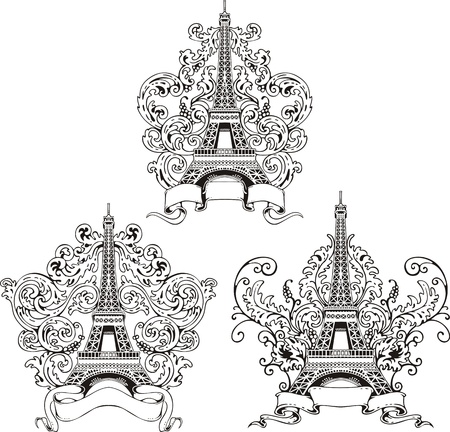 Stylized Eiffel Tower. Set of black and white vector illustrations. Illustration