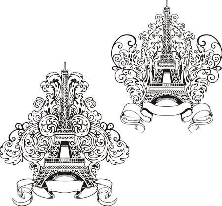様式化されたエッフェル塔。黒と白のベクトル イラストのセットです。