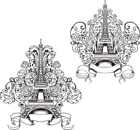 Stylized Eiffel Tower. Set of black and white vector illustrations. 向量圖像