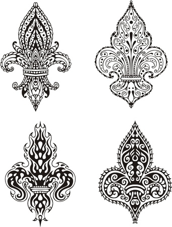 Fleur-de-lis (French Lilies of Bourbons). Set of black and white vector illustrations. Vector