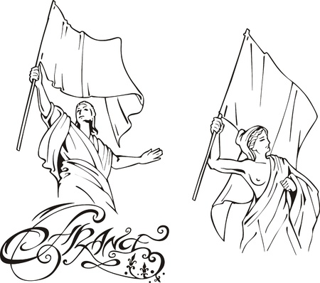 French Marianne with Flags. Set of black and white vector illustrations. Vector
