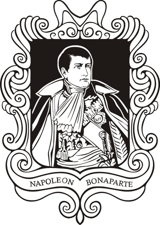 napoleon: Portrait of Napoleon Bonaparte. Black and white vector illustration based on portrait drawn in 1805 (as King of Italy).