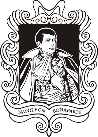 napoleon: Portret van Napoleon Bonaparte. Zwart-wit vector illustratie gebaseerd op getekend portret in 1805 (als Koning van Italië). Stock Illustratie