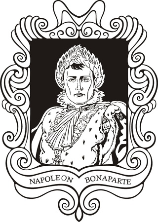 napoleon: Portrait of Napoleon Bonaparte. Black and white vector illustration based on portrait drawn in 1810.