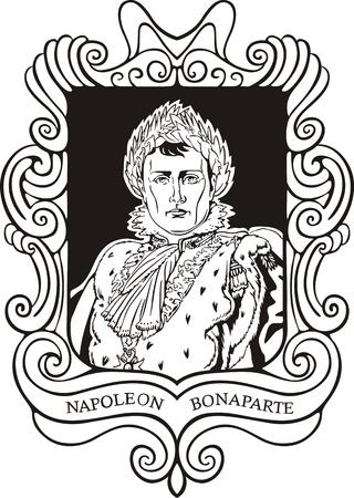 napoleon: Portret van Napoleon Bonaparte. Zwart-wit vector illustratie gebaseerd op getekend portret in 1810.