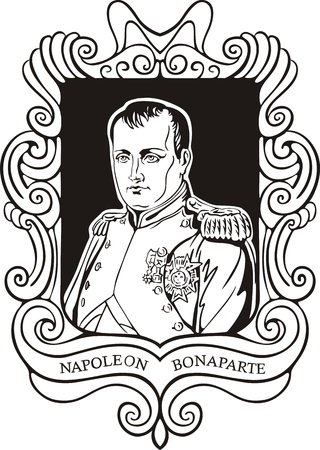napoleon: Portrait of Napoleon Bonaparte. Black and white vector illustration based on portrait drawn in 1812. Illustration