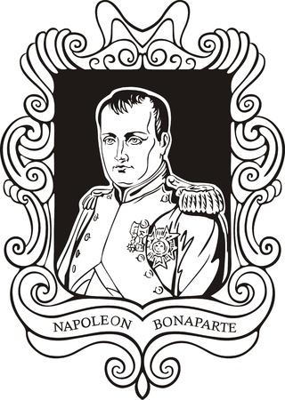 napoleon: Portret van Napoleon Bonaparte. Zwart-wit vector illustratie gebaseerd op getekend portret in 1812. Stock Illustratie