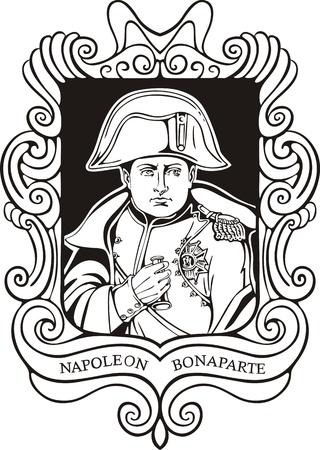 ナポレオンボナパルトの肖像画。黒と白のベクトル イラストが 1820 年に描かれた肖像画に基づきます。  イラスト・ベクター素材
