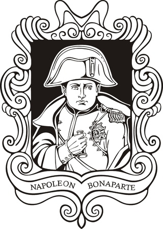 napoleon: Portret van Napoleon Bonaparte. Zwart-wit vector illustratie gebaseerd op getekend portret in 1820.