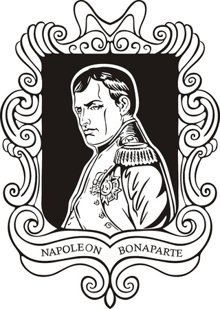 napoleon: Portrait of Napoleon Bonaparte. Black and white vector illustration based on portrait drawn in 1840. Illustration