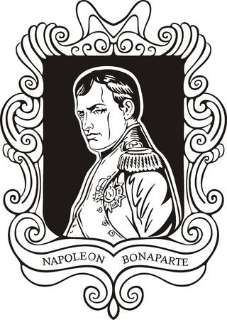napoleon: Portret van Napoleon Bonaparte. Zwart-wit vector illustratie gebaseerd op getekend portret in 1840.