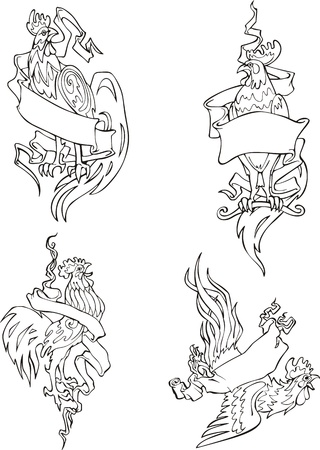 Roosters with ribbons. Set of black and white vector illustrations. Vector