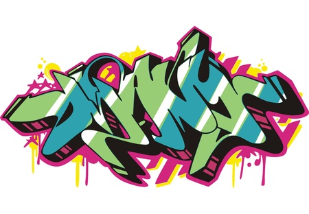 Graffito text design - many. Color vector illustration. Stock Vector - 14953028