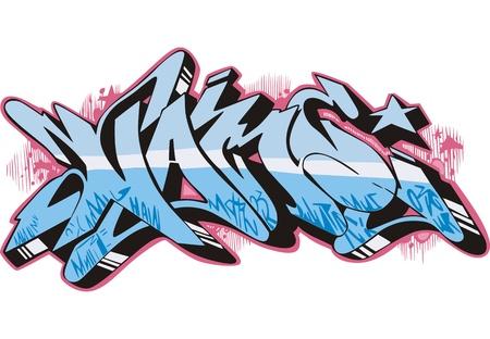 Graffito text design - name. Color vector illustration. Stock Vector - 14952955