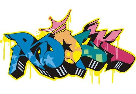 Graffito text design - rock. Color vector illustration. Stock Vector - 14953026