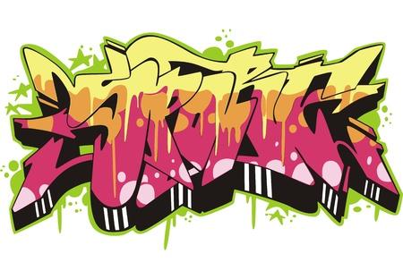 vandal: Graffito text design - sport. Color vector illustration.