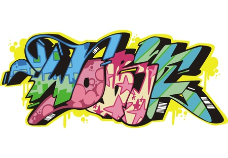 Graffito text design - work. Color vector illustration. Stock Vector - 14953035