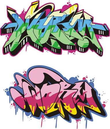 aerografo: Graffito dise�o de texto - gusano. Color ilustraci�n vectorial. Vectores