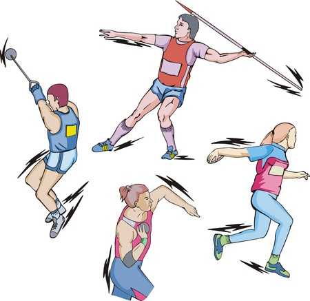 javelin throw: Athletics: Shot put, Discus, Hammer and Javelin throw.  Illustration