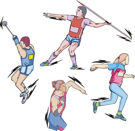 Atletismo: lanzamiento de peso, disco, martillo y jabalina.