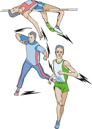 lancio del peso: Atletica. Decathlon: Salto in alto, lancio del peso, corsa.