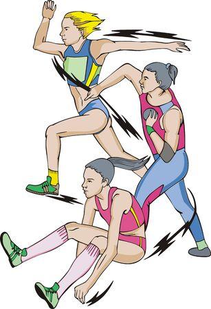 jump shot: Athletics. Heptathlon: Long jump, Shot put, Race.
