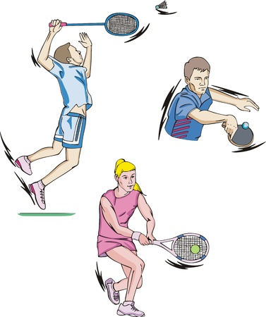 Sports: Tennis, Table tennis and Badminton.  Vector