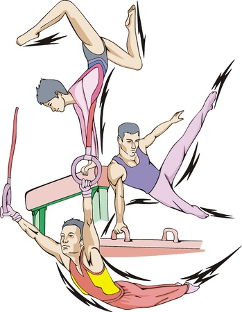 color ring: Artistic gymnastics: Balance beam, Pommel horse, Rings.