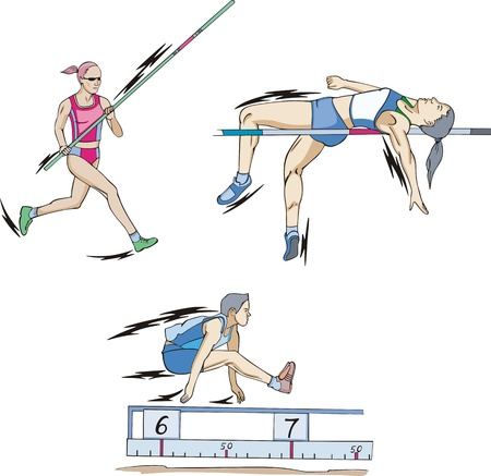 陸上競技。ジャンプ: 棒高跳び、高跳びと幅跳び。  イラスト・ベクター素材