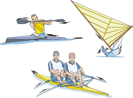 Water Sports: Whitewater slalom, Rowing and Sailing. Stock Vector - 14983172