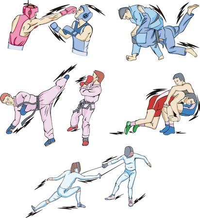 peleando: Lucha y Combate Deportes: Boxeo, Judo, Taekwondo Esgrima, Freestyle y lucha greco-romana. Vectores