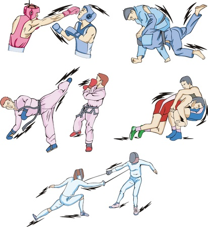 Struggle and Fighting Sports: Boxing, Judo, Taekwondo, Fencing, Freestyle and Greco-Roman Wrestling. Vector