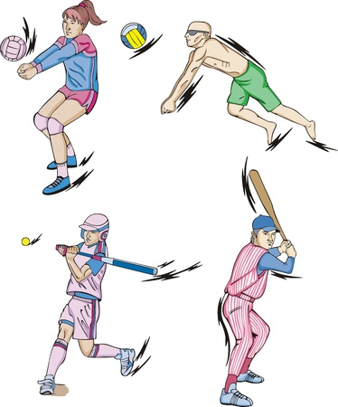 Team Sports: Volleyball (indoor and beach) and Baseball. Vector