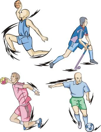 Team Sports: Basketball, Field hockey, Handball and Soccer. Stock Vector - 14983182